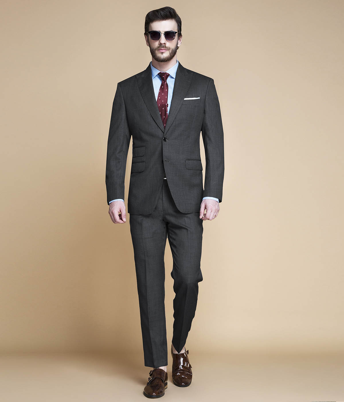 Hudson Charcoal Nailhead Suit-mbview-1