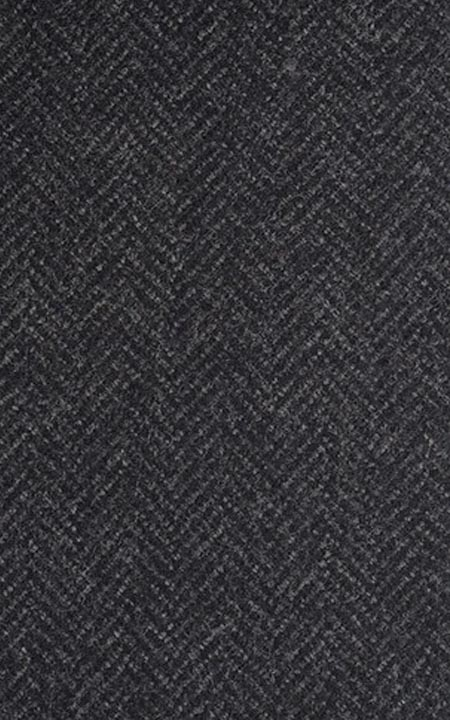 Pure Wool Charcoal Grey Herringbone Tweed