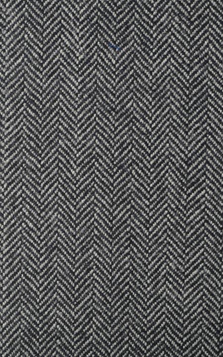 Pure Wool Charcoal Green Herringbone Tweed