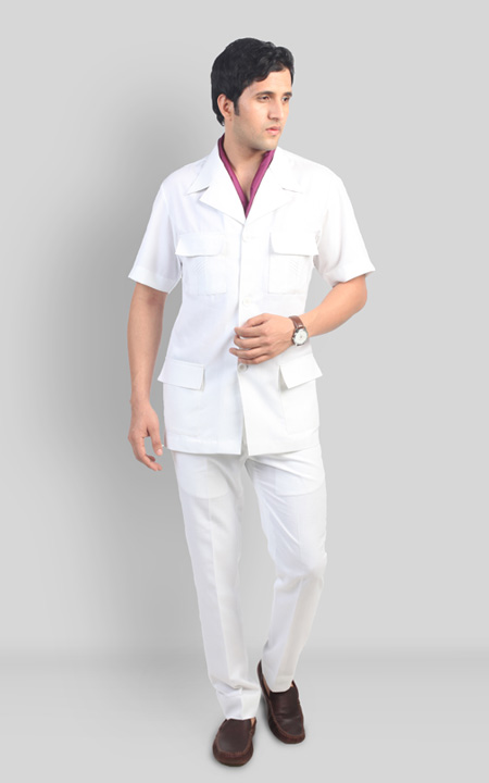 Premium White Safari Suit