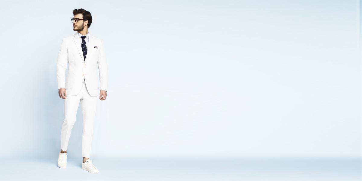 Napoli White Cotton Suit- view-1