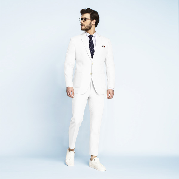 Napoli White Cotton Suit-mbview-1