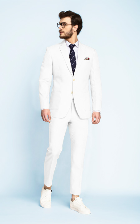 Napoli White Cotton Suit