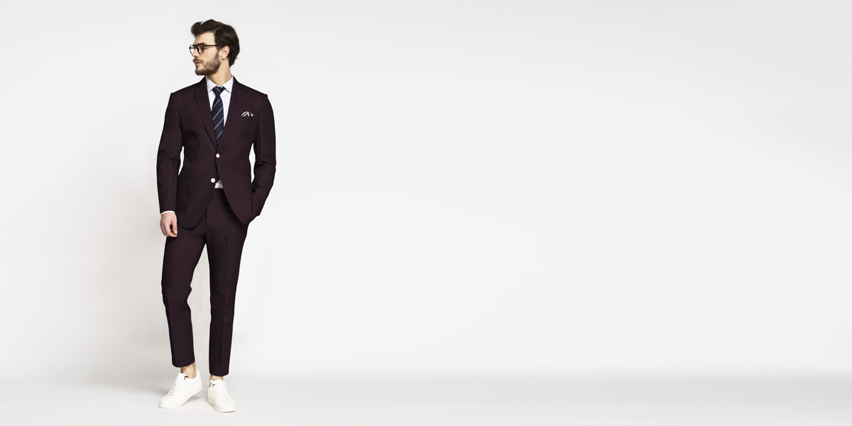 Havana Burgundy Cotton Suit- view-1