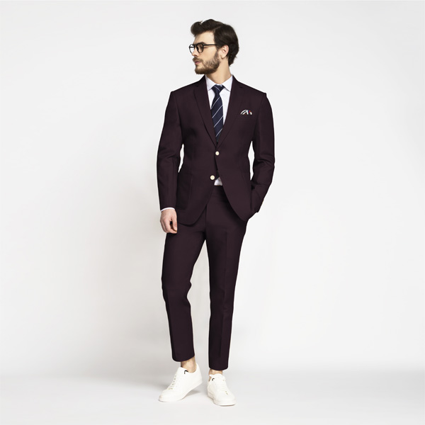 Havana Burgundy Cotton Suit-mbview-1