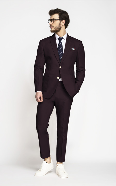 Havana Burgundy Cotton Suit