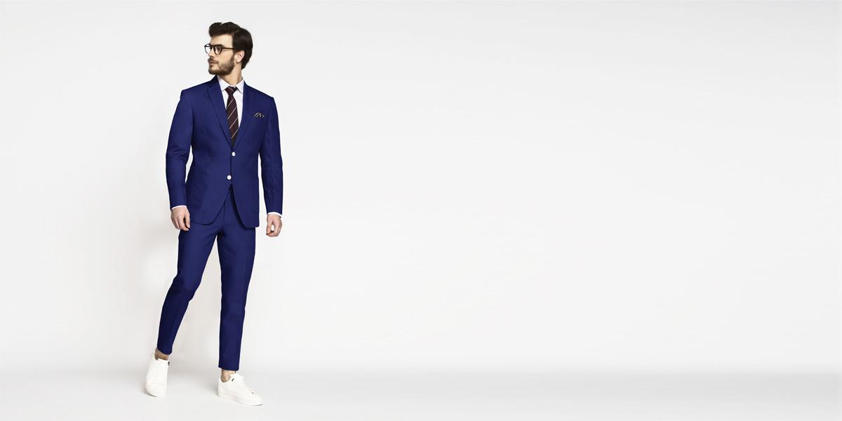 Royal Blue Cotton Suit- view-1