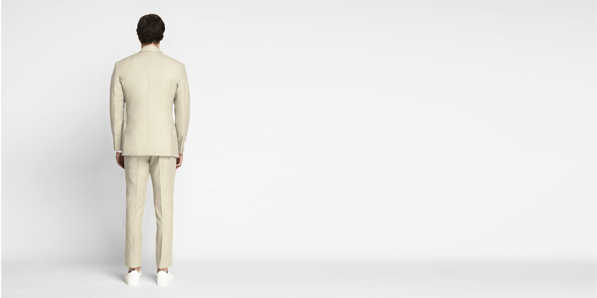Khaki Cream Cotton Suit- view-2