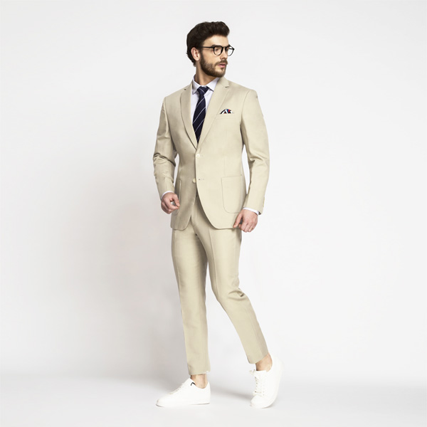 Khaki Cream Cotton Suit-mbview-1
