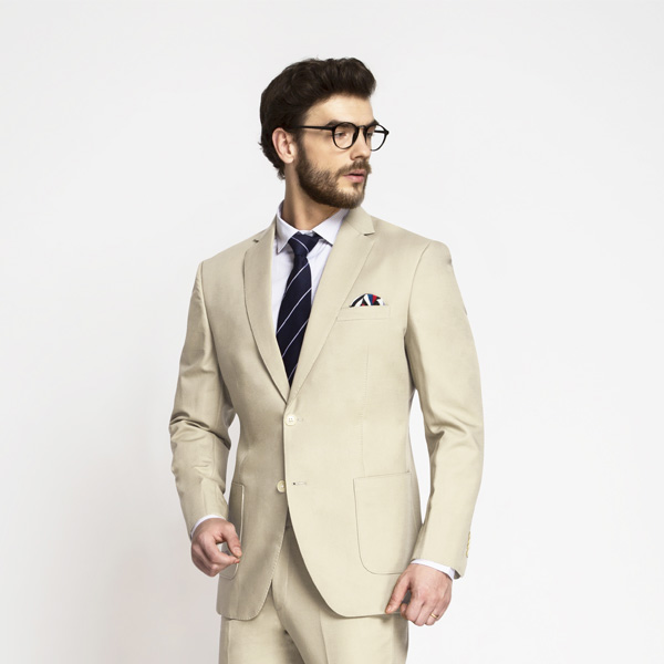 Khaki Cream Cotton Suit-mbview-3