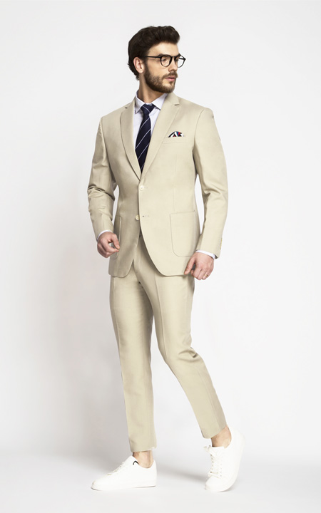 Khaki Cream Cotton Suit