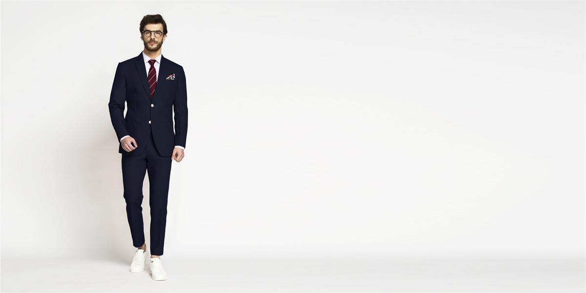 Debonair Navy Blue Cotton Suit- view-1