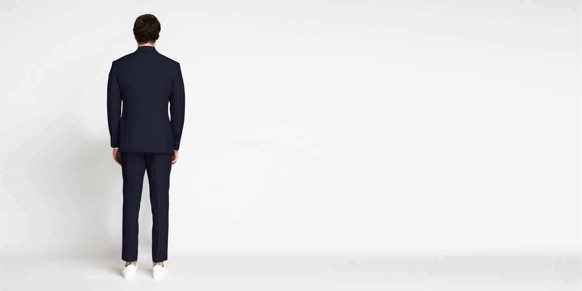 Debonair Navy Blue Cotton Suit- view-2