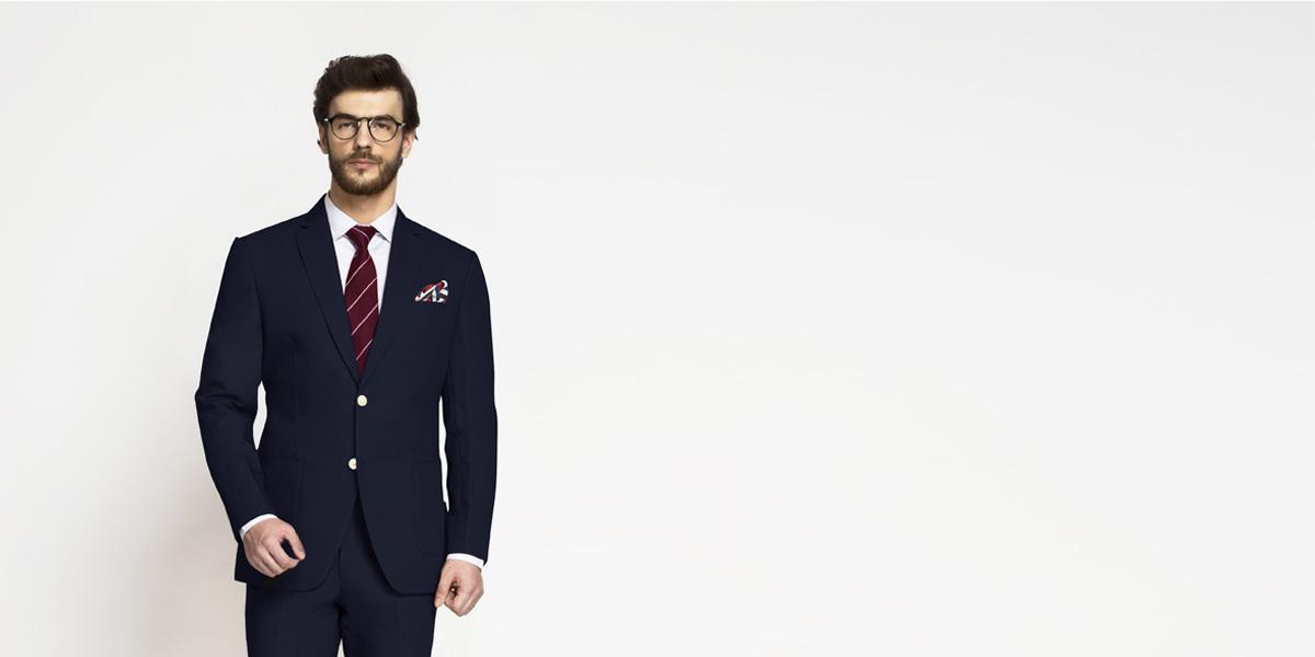 Debonair Navy Blue Cotton Suit- view-3