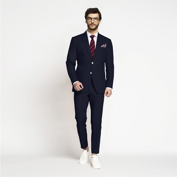 Debonair Navy Blue Cotton Suit-mbview-1