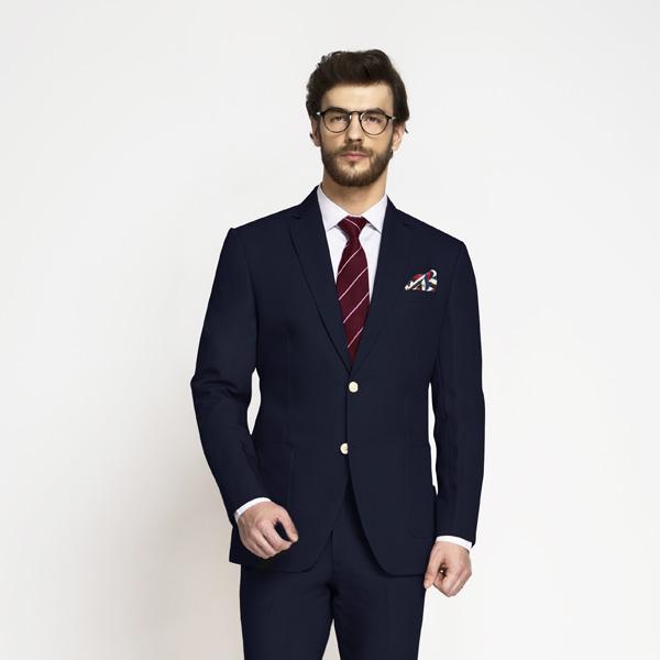 Debonair Navy Blue Cotton Suit-mbview-3