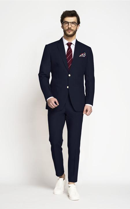 Debonair Navy Blue Cotton Suit