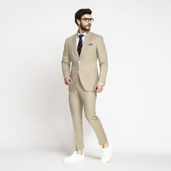 Dusted Brown Khaki Cotton Suit-mbview-1