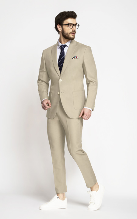 Dusted Brown Khaki Cotton Suit