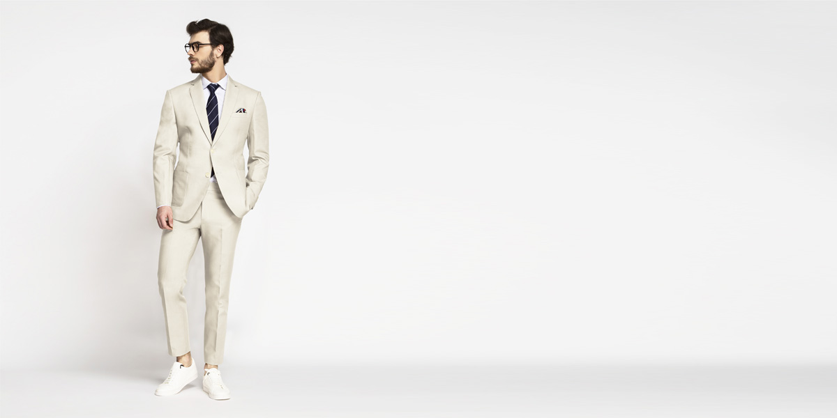 Beige Derby Cotton Suit- view-1