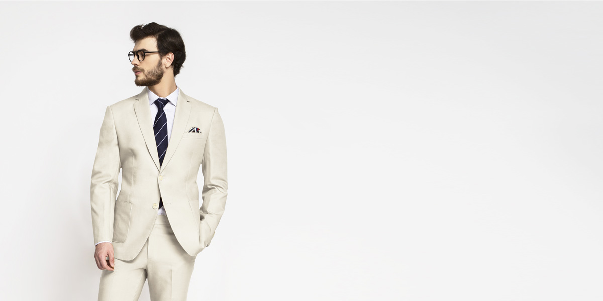 Beige Derby Cotton Suit- view-3