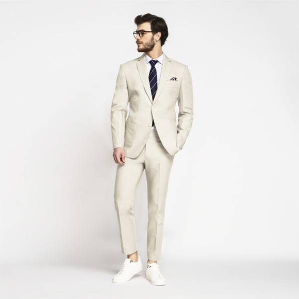 Beige Derby Cotton Suit-mbview-1