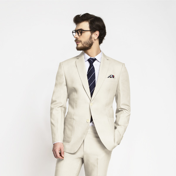 Beige Derby Cotton Suit-mbview-3