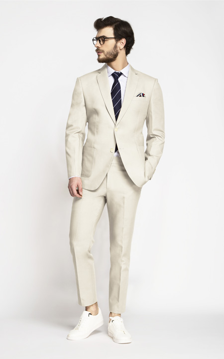 Beige Derby Cotton Suit