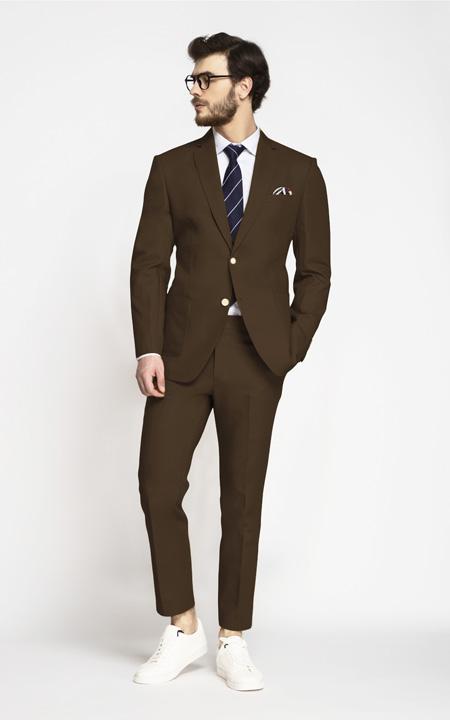 Lazio Brown Cotton Suit