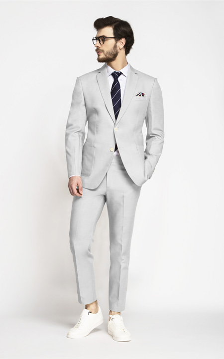 Slate Gray Cotton Suit