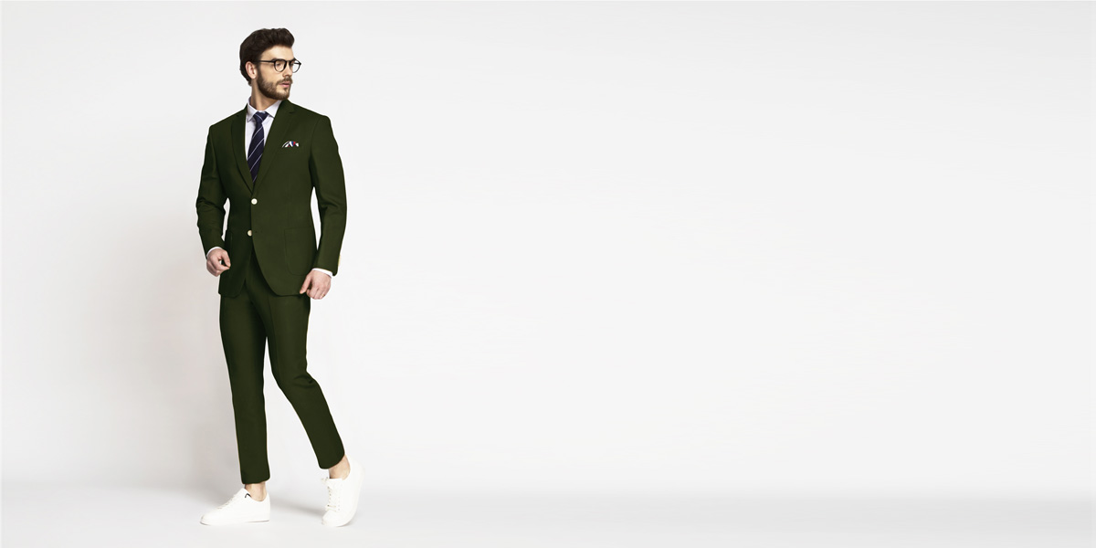 Olive Green Cotton Suit- view-1