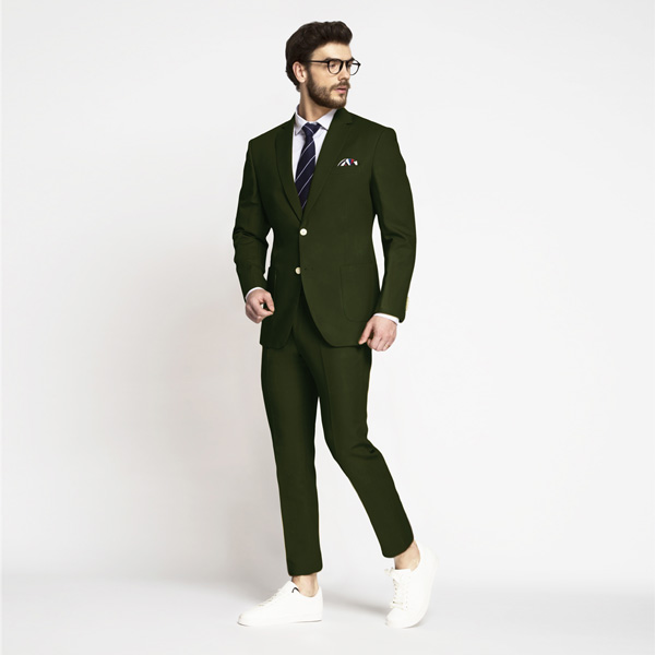 Olive Green Cotton Suit-mbview-1