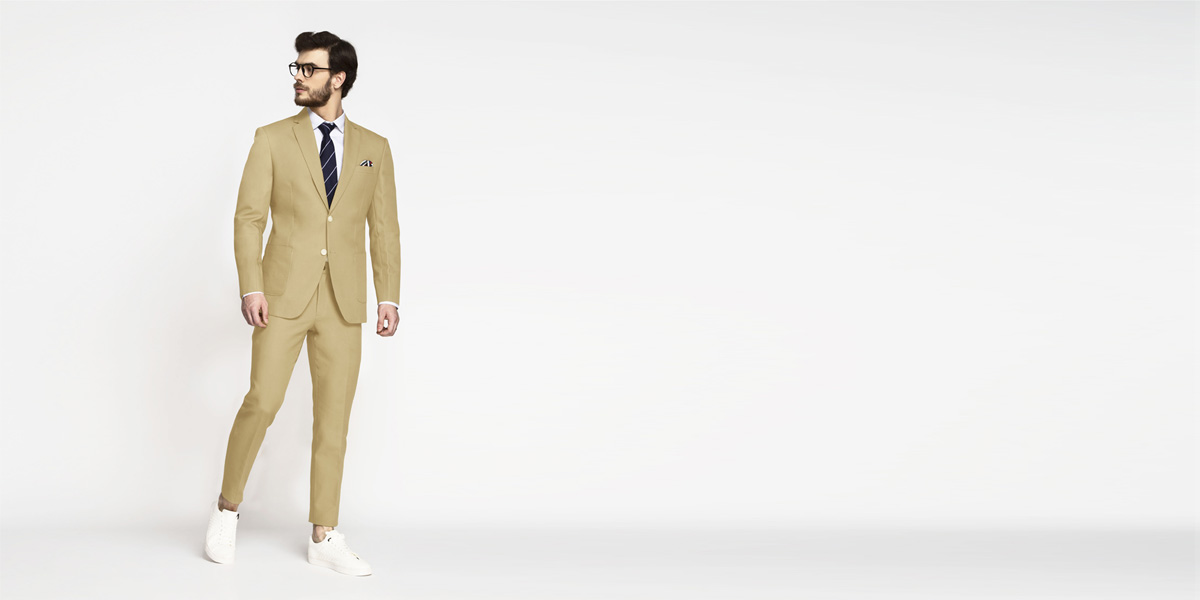 Light Khaki Sand Cotton Suit- view-1