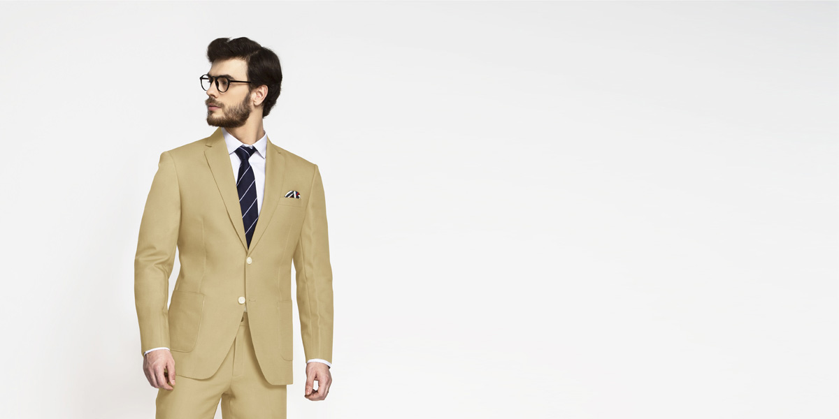 Light Khaki Sand Cotton Suit- view-3