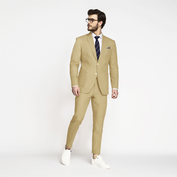Light Khaki Sand Cotton Suit-mbview-1