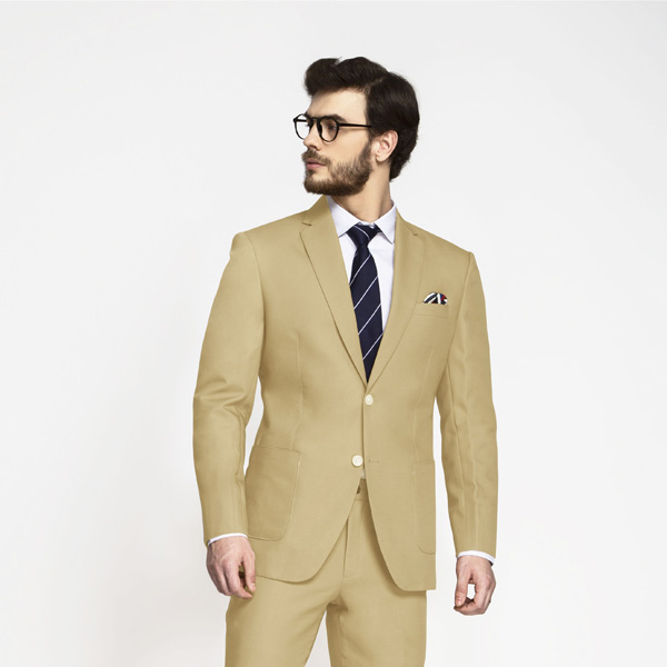 Light Khaki Sand Cotton Suit-mbview-3