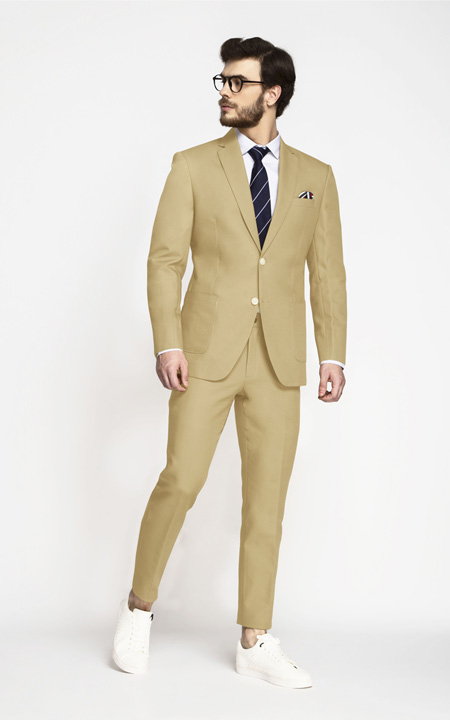 Light Khaki Sand Cotton Suit