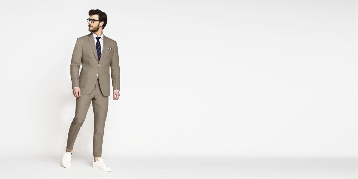 Pebble Brown Khaki Cotton Suit- view-1