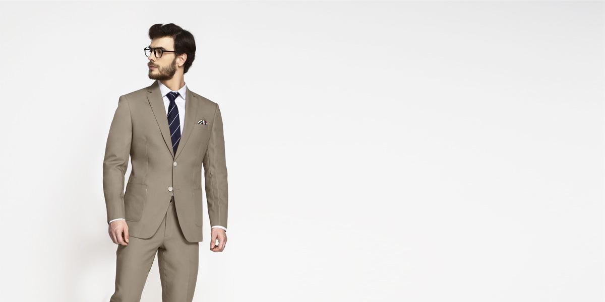 Pebble Brown Khaki Cotton Suit- view-3