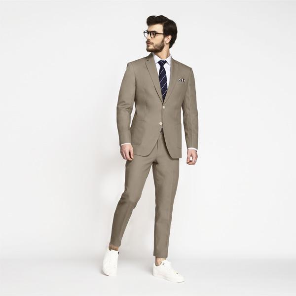 Pebble Brown Khaki Cotton Suit-mbview-1