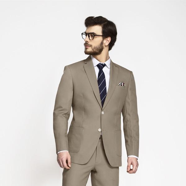 Pebble Brown Khaki Cotton Suit-mbview-3
