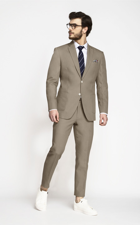 Pebble Brown Khaki Cotton Suit