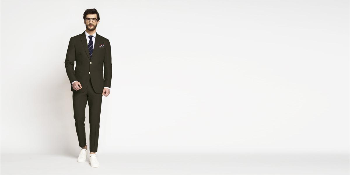 Taupe Green Khaki Cotton Suit- view-1