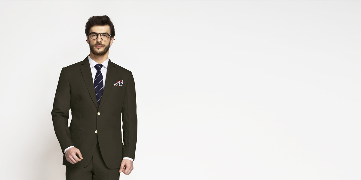 Taupe Green Khaki Cotton Suit- view-3