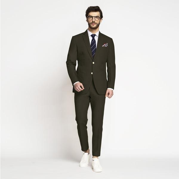 Taupe Green Khaki Cotton Suit-mbview-main