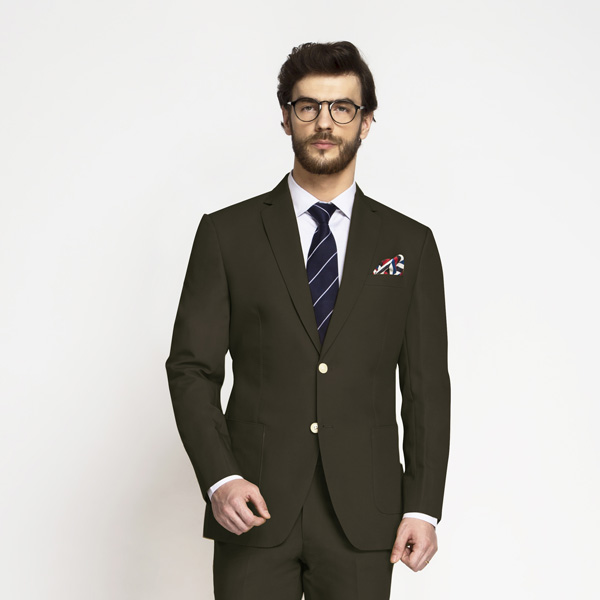 Taupe Green Khaki Cotton Suit-mbview-3