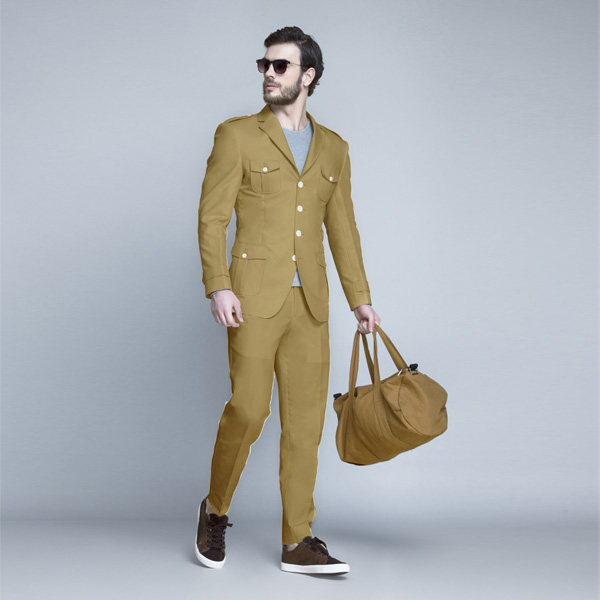 English Khaki Leisure Suit-mbview-1