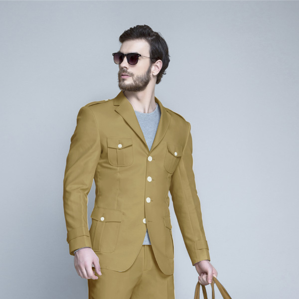 English Khaki Leisure Suit-mbview-3