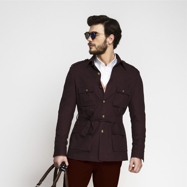 Cocktail Burgundy Military Suit-mbview-3