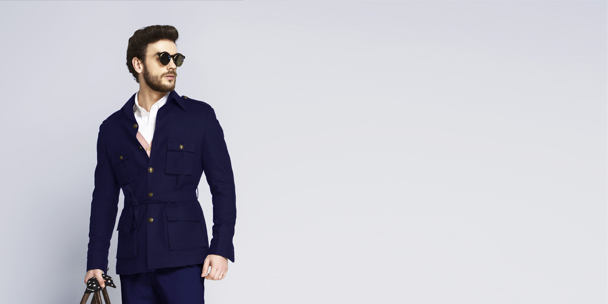 Moonraker Royal Blue Military Suit- view-3